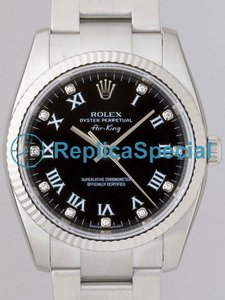 Rolex Airking 114.234 Automatic Black Dial 18k White Gold Fluted Bezel Horloge